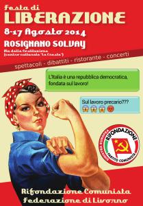 Locandina Festa di Liberazione 2014 - PRC Federazione di Livorno