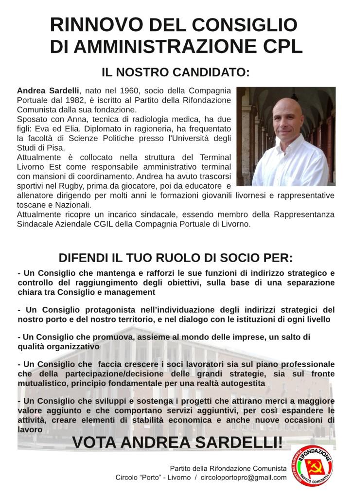Al rinnovo del CdA della Compagnia Portuale, votiamo Andrea Sardelli!