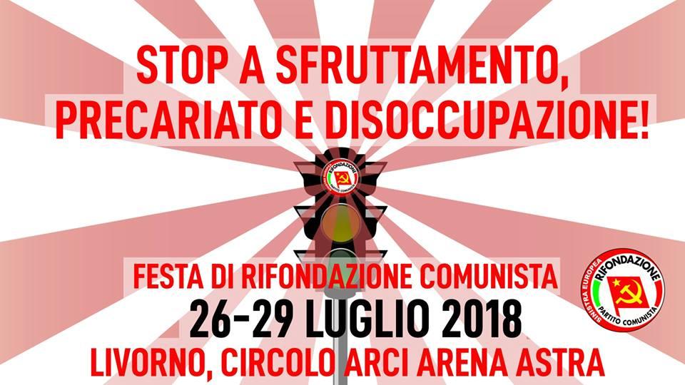 26-29 luglio 2018 Festa livornese di Rifondazione Comunista